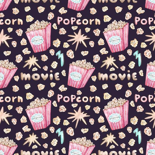 Akwarela wektor wzór z wiadro popcorn Premium Wektorów