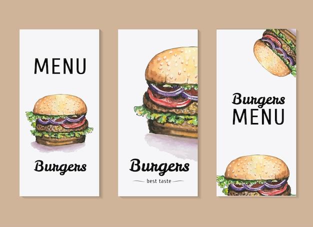 Akwarela wektor zestaw szablonów do menu hamburgery Premium Wektorów