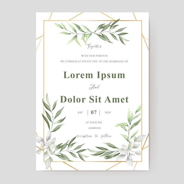 Akwarela wesele zaproszenie szablon projektu karty z liści zieleni Premium Wektorów