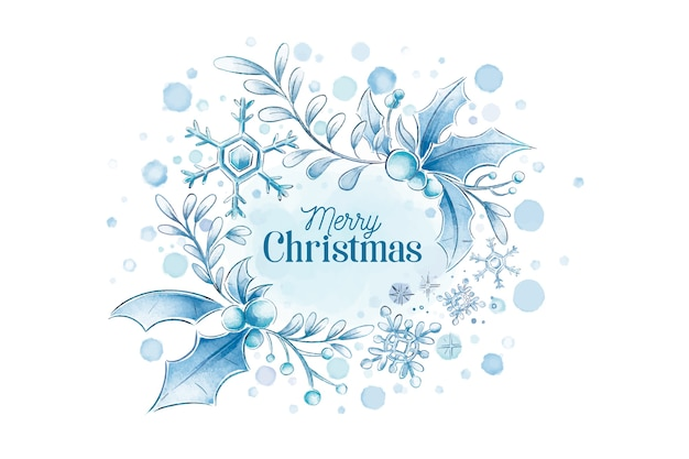 Akwarela Wesołych świąt Bożego Narodzenia Tło Zima Darmowych Wektorów