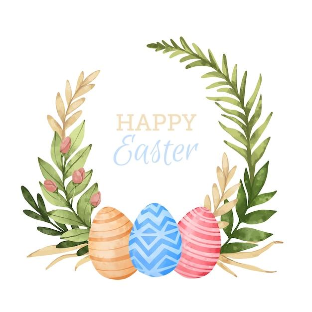 Akwarela Wesołych świąt Wielkanocnych Pozostawia Ramki Z Jajkami Darmowych Wektorów