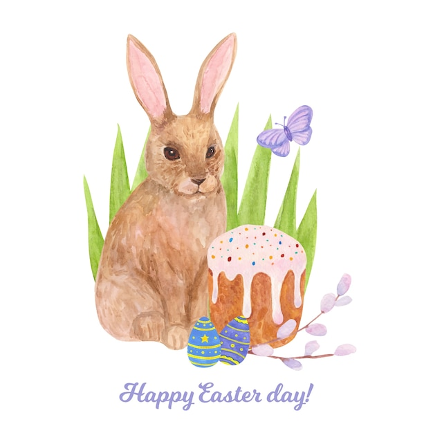 Akwarela Wesołych świąt Wielkanocnych Darmowych Wektorów