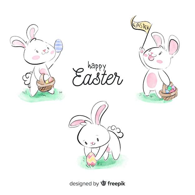 Akwarela wielkanoc dzień króliczek kolekcja Darmowych Wektorów