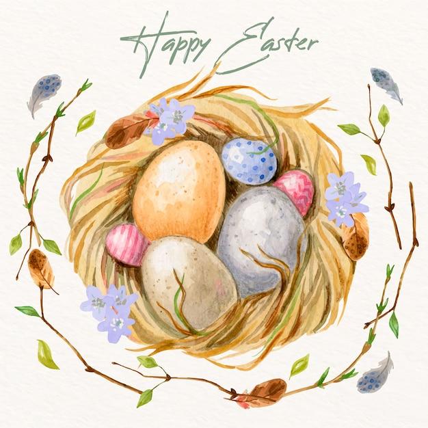 Akwarela Wielkanocny Motyw Kolekcji Jaj Darmowych Wektorów
