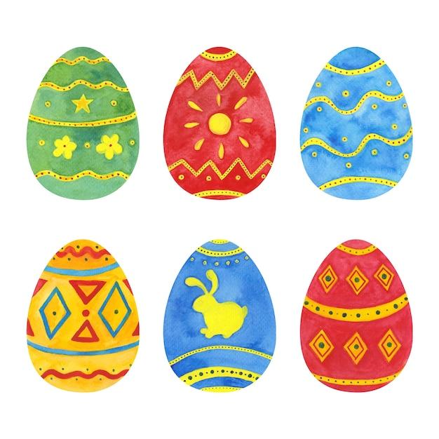Akwarela Wielkanocny Pakiet Jajek Darmowych Wektorów