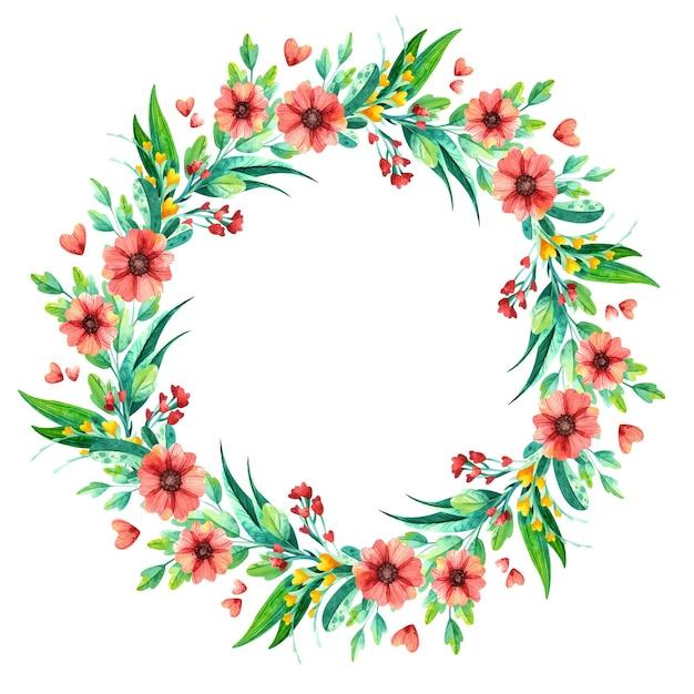 Akwarela Wieniec Z Kwiatów, Botaniczna Kompozycja Kwiatowa. Darmowych Wektorów