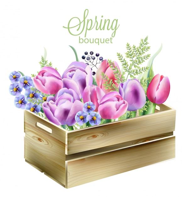 Akwarela Wiosenny Bukiet W Drewnianym Pudełku. Orchidea, Kłoda, Jagody, Zielone Liście I Tulipany Darmowych Wektorów