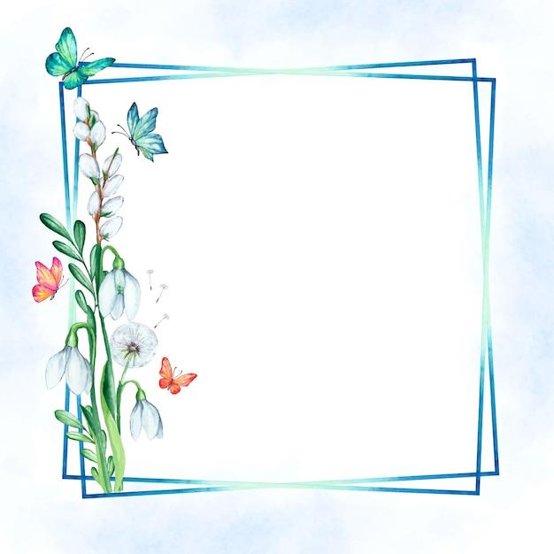 Akwarela Wiosna Kwiatowy Rama Z Motylami Darmowych Wektorów
