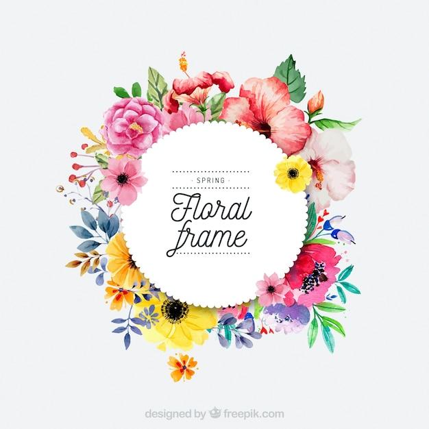 Akwarela wiosna kwiatowy ramki Darmowych Wektorów