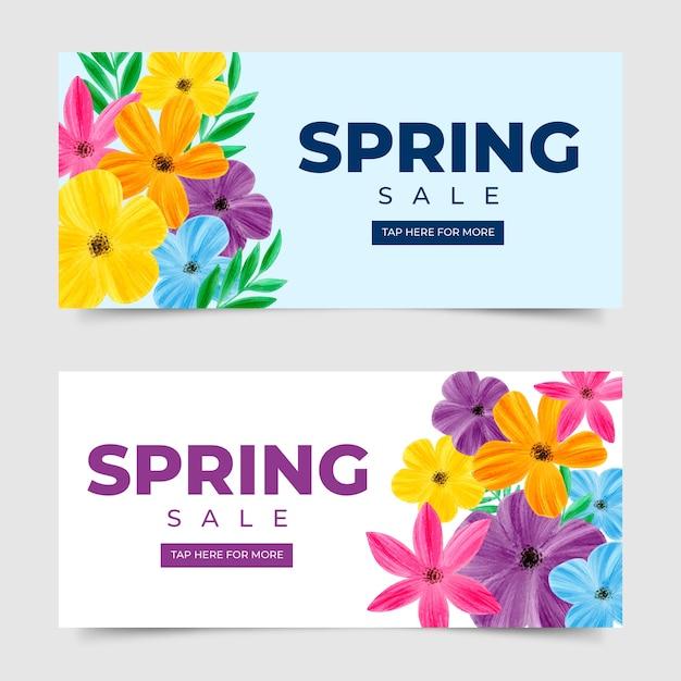 Akwarela Wiosna Sprzedaż Transparent Kolekcja Koncepcja Darmowych Wektorów