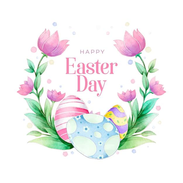 Akwarela Wiosna Wielkanoc Wieniec Kwiatowy Z Tulipanami Darmowych Wektorów