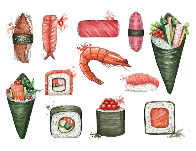 Akwarela Z Sushi I Azjatyckie Jedzenie Na Białym Tle Premium Wektorów