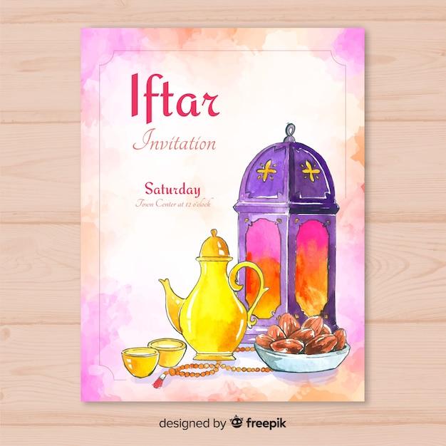 Akwarela zaproszenie iftar Darmowych Wektorów