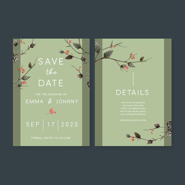 Akwarela zaproszenie na ślub z motywem lasu Darmowych Wektorów