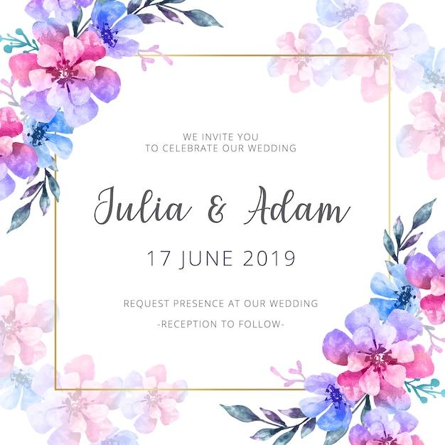 Akwarela zaproszenie na ślub Darmowych Wektorów