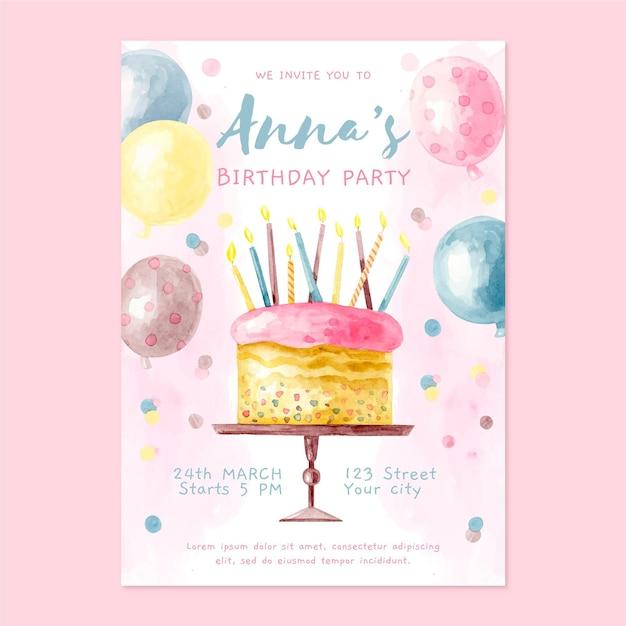 Akwarela Zaproszenie Na Urodziny Z Ciastem Darmowych Wektorów