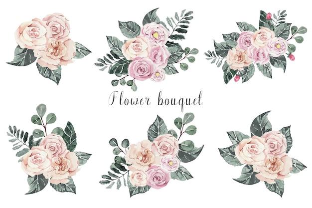 Akwarela Zestaw Bukietów Kwiatów Różowych Róż Premium Wektorów