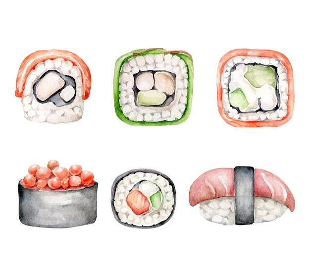 Akwarela Zestaw Sushi Premium Wektorów