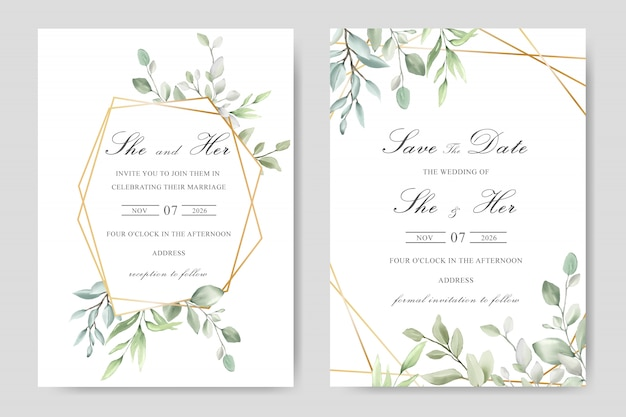 Akwarela zieleni zaproszenia ślubne kwiatowy szablon karty projektu Premium Wektorów