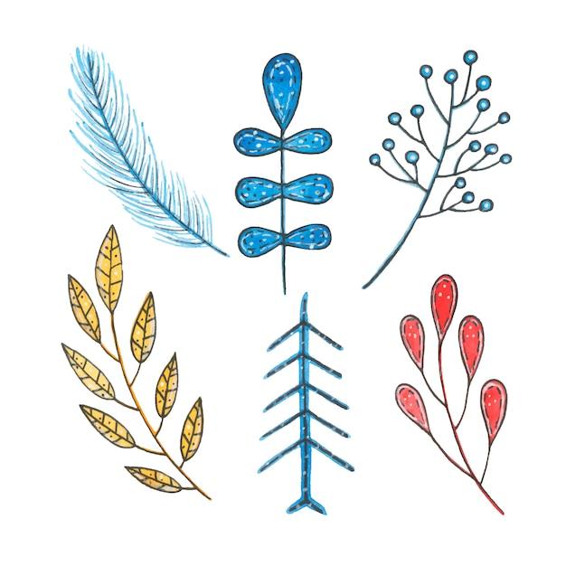 Akwarela zima boże narodzenie liść, świerk i jagody na białym tle Darmowych Wektorów