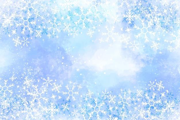 Akwarela Zima Tło Z Płatki śniegu Premium Wektorów