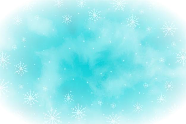 Akwarela Zimowa Tapeta Z Pustą Przestrzenią Premium Wektorów