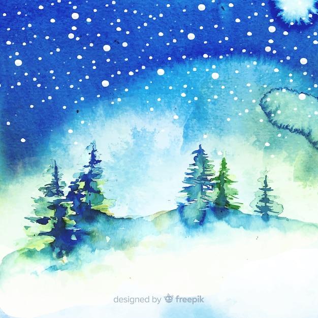 Akwarela Zimowy Krajobraz Z Drzewami Darmowych Wektorów
