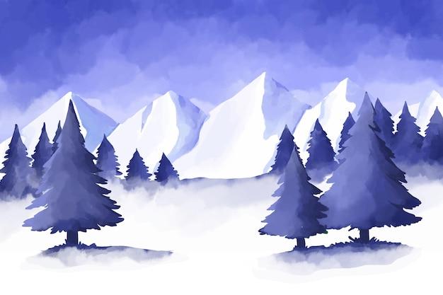 Akwarela Zimowy Krajobraz Darmowych Wektorów
