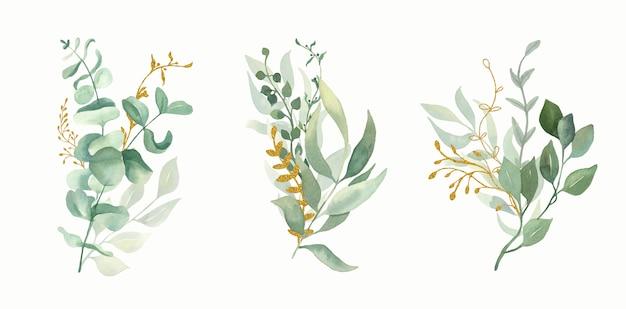 Akwarele Bukiety Kwiatów Zielony I Złoty Liść. Premium Wektorów