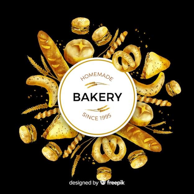 Akwarele ciasta i chleb tło Darmowych Wektorów
