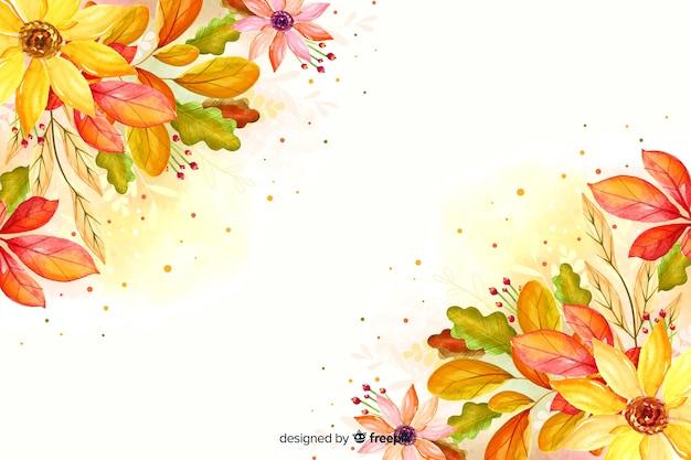 Akwarele jesienne liście tło Darmowych Wektorów