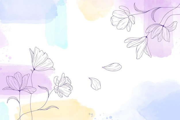 Akwarele Malowane Tła Z Ręcznie Rysowane Kwiaty Darmowych Wektorów