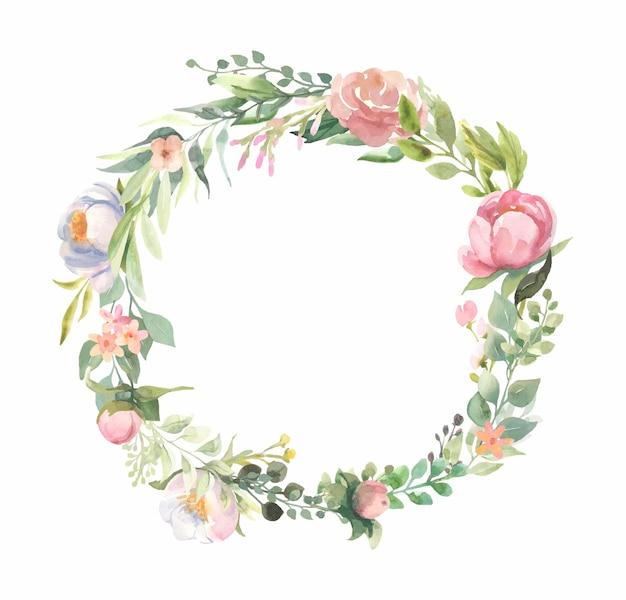 Akwarele Ramki Z Bukietami Różowych Kwiatów, Zielone Liście. Premium Wektorów