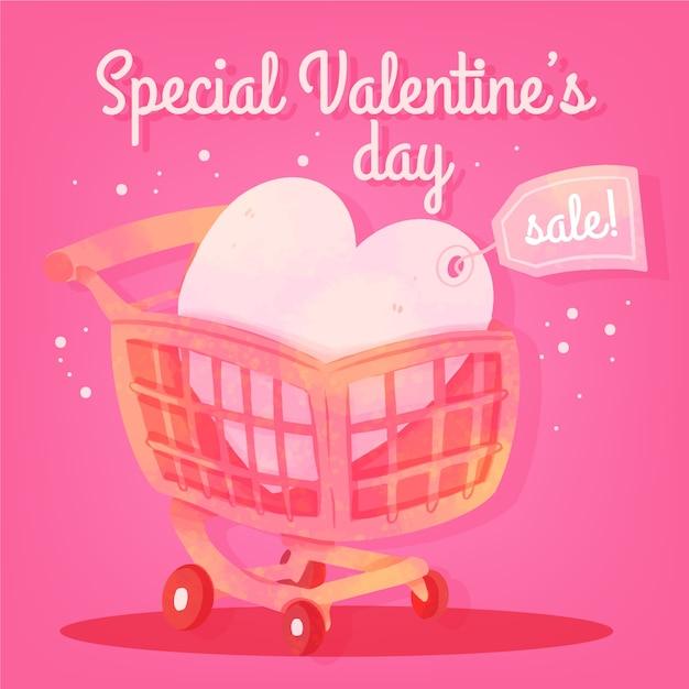 Akwarele Sprzedaż Serce Valentine Z Ceną Darmowych Wektorów