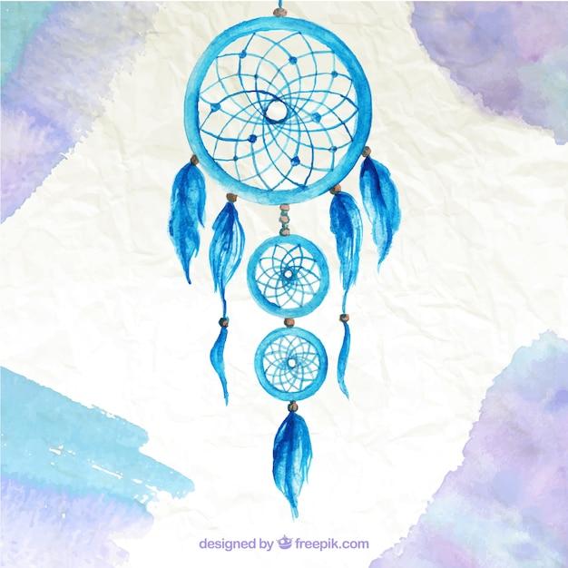 Akwarele Tła Z Cute Blue Dream Catcher Darmowych Wektorów