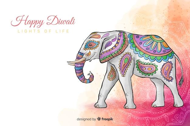 Akwareli Diwali Tło Z Pięknym Kolorowym Słoniem Darmowych Wektorów