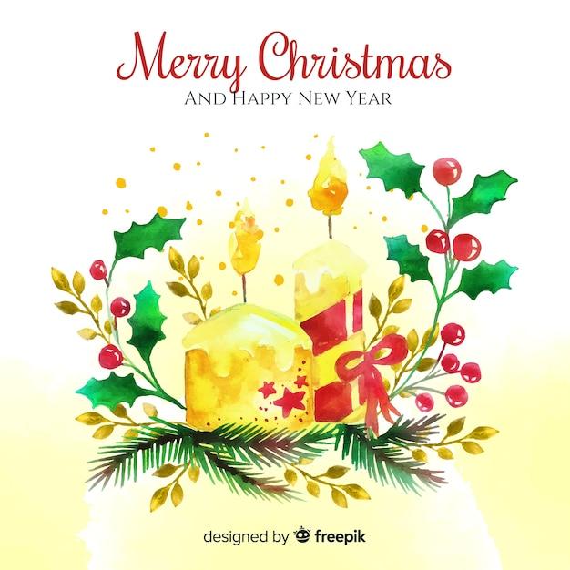Akwareli Piękny Boże Narodzenie świeczki Tło Darmowych Wektorów