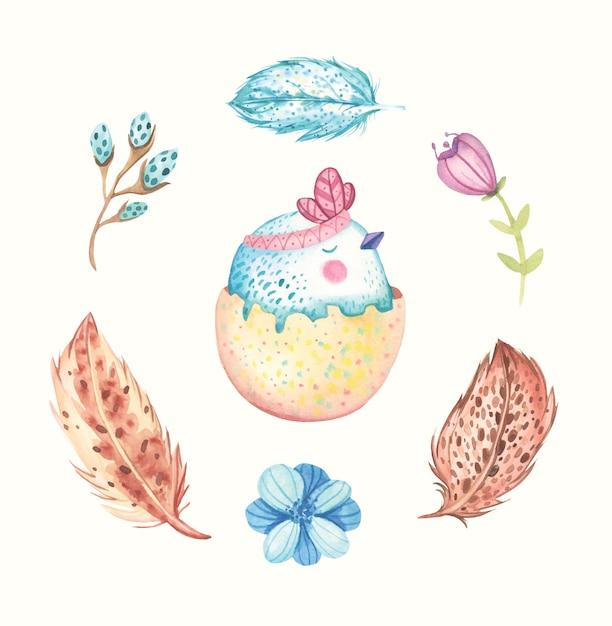 Akwareli śliczna Easter Ptaka Ilustracja Premium Wektorów