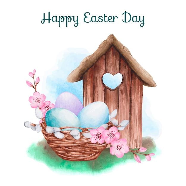 Akwareli Tła Szczęśliwy Wielkanocny Dzień Darmowych Wektorów