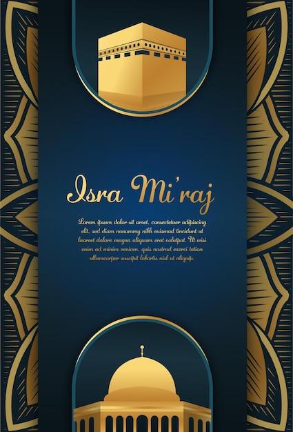 Al-isra Wal Mi'raj Tłumacz Nocna Podróż Prorok Mahomet Premium Wektorów