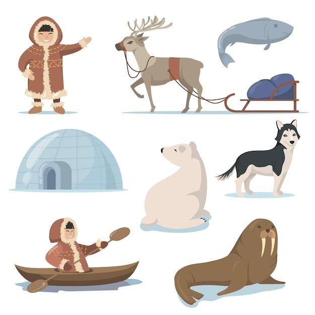 Alaska Elementy I Płaski Zestaw Szczęśliwych Inuitów Darmowych Wektorów