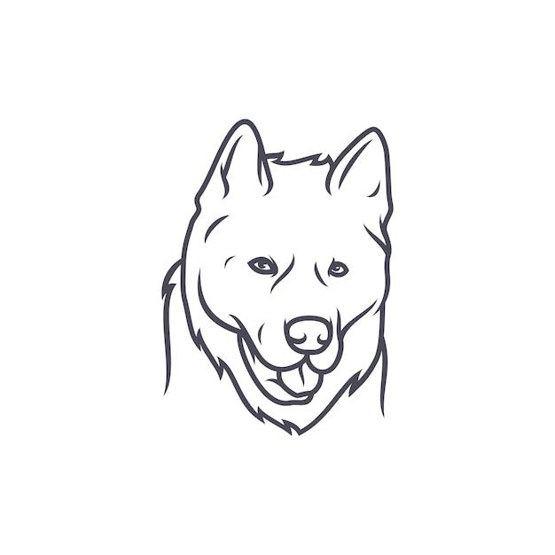 Alaskan Malamute Dog - Wektor Logo / Ikona Ilustracja Maskotka Premium Wektorów
