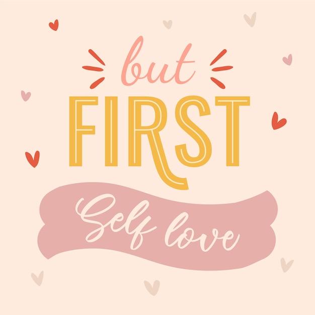Ale Pierwszy Napis O Miłości Do Siebie Darmowych Wektorów