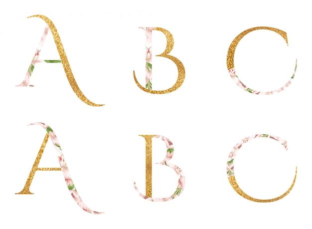 Alfabet a, b i c z akwarelą kwiatów i liści Premium Wektorów