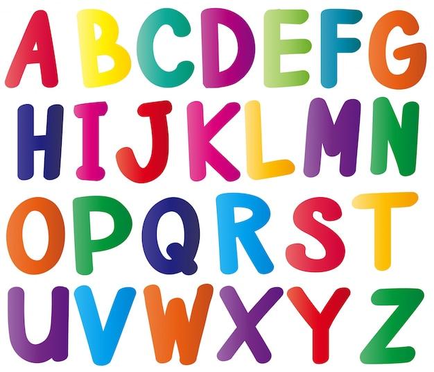 Alfabet angielski w wielu kolorach Darmowych Wektorów
