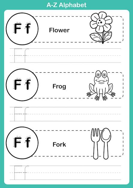 Alfabet az ćwiczenia ze słownictwa kreskówka dla kolorowanka Premium Wektorów
