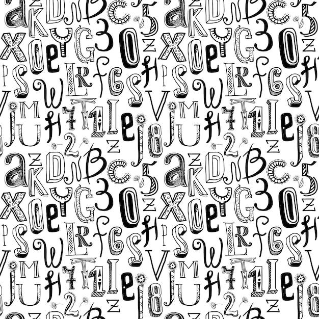 Alfabet Bez Szwu Czarny Wzór Premium Wektorów