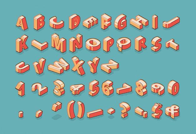 Alfabet, cyfry i znaki interpunkcyjne stojąc i leżąc na surowo na niebieskim tle retro kolorowe. Darmowych Wektorów