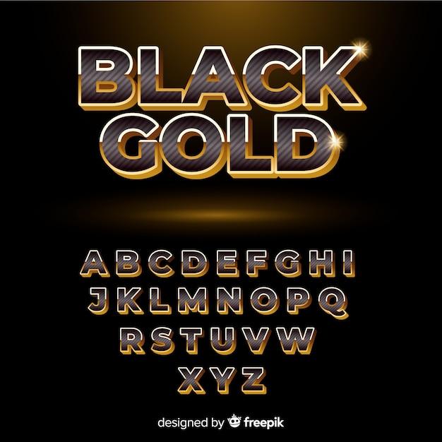Alfabet czarny i złoty Darmowych Wektorów