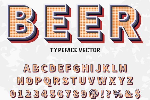 Alfabet Czcionki Skrypt Krój Pisma Ręcznie Odręcznie Nazwany Rocznika Piwa Premium Wektorów